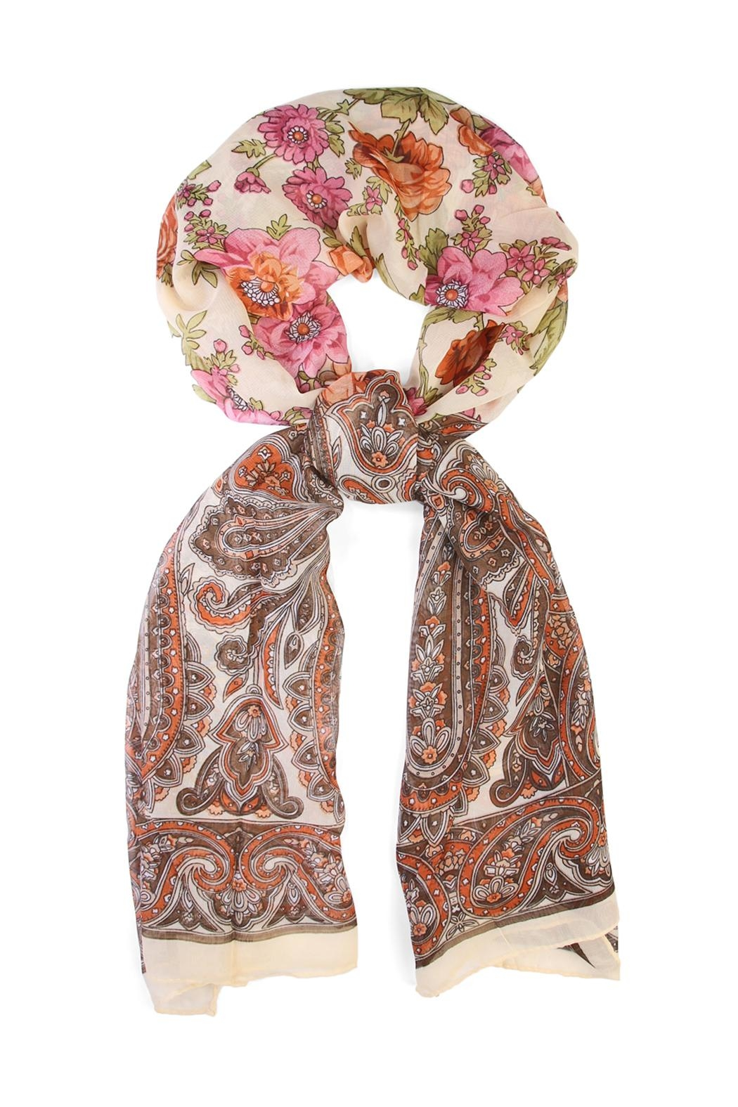 Riah Fashion Fashionable Rose Scarf - Front Cropped Image