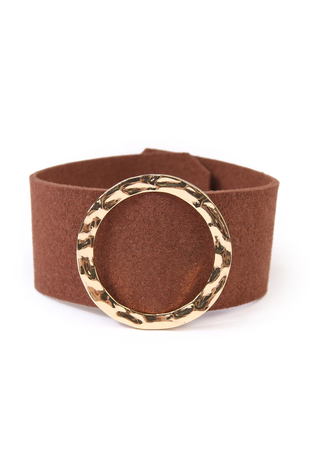 Riah Fashion Faux Leather Belt Bracelet - Front Cropped Image