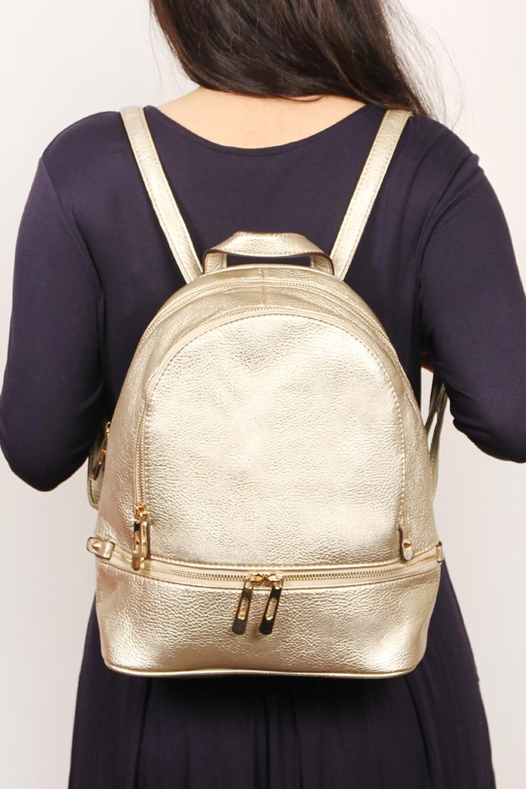 Riah Fashion Faux-Leather-Mini-Backpack - Front Cropped Image