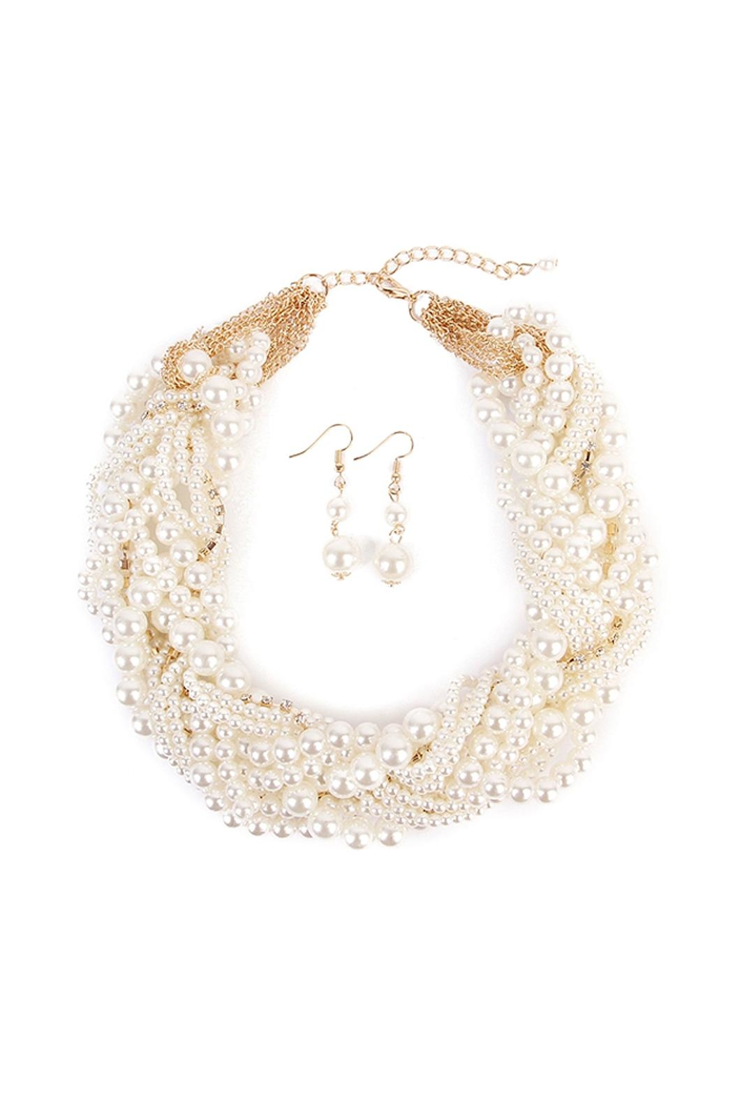 Riah Fashion Faux Pearl Jewelry Set - Front Cropped Image
