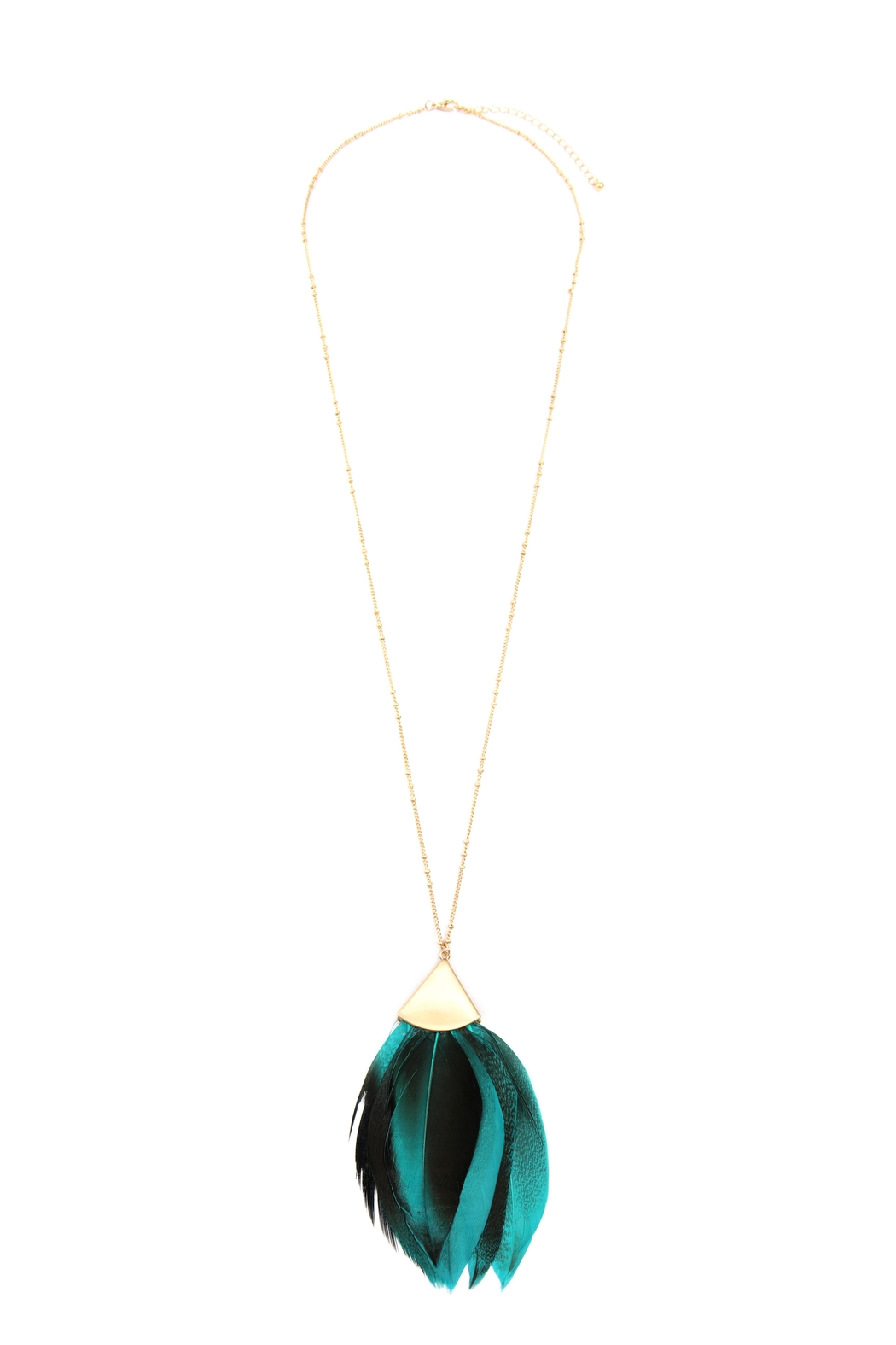 Riah Fashion Feather Metal Pendant-Necklace - Front Cropped Image