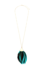 Riah Fashion Feather Metal Pendant-Necklace - Front cropped