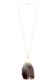 Riah Fashion Feather Metal Pendant-Necklace - Product Mini Image