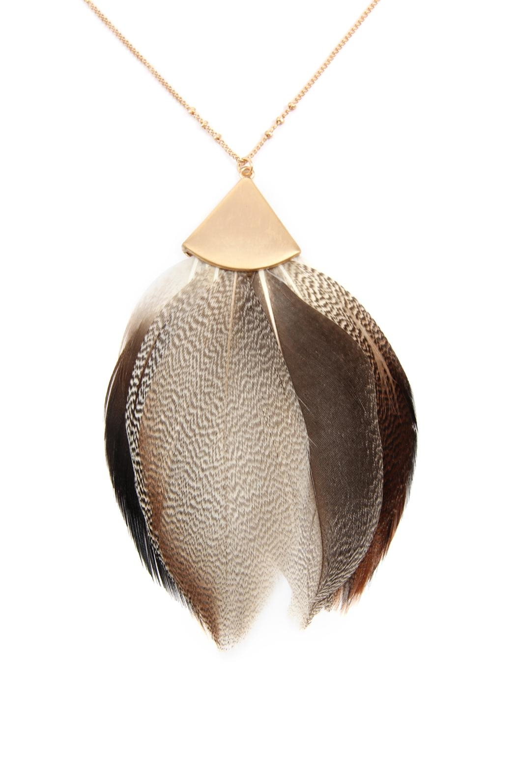 Riah Fashion Feather Metal Pendant-Necklace - Front Full Image