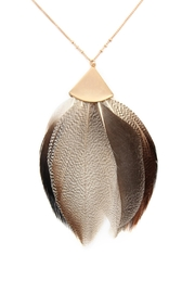 Riah Fashion Feather Metal Pendant-Necklace - Front full body