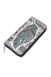 Riah Fashion Feather Print Wallet - Product Mini Image