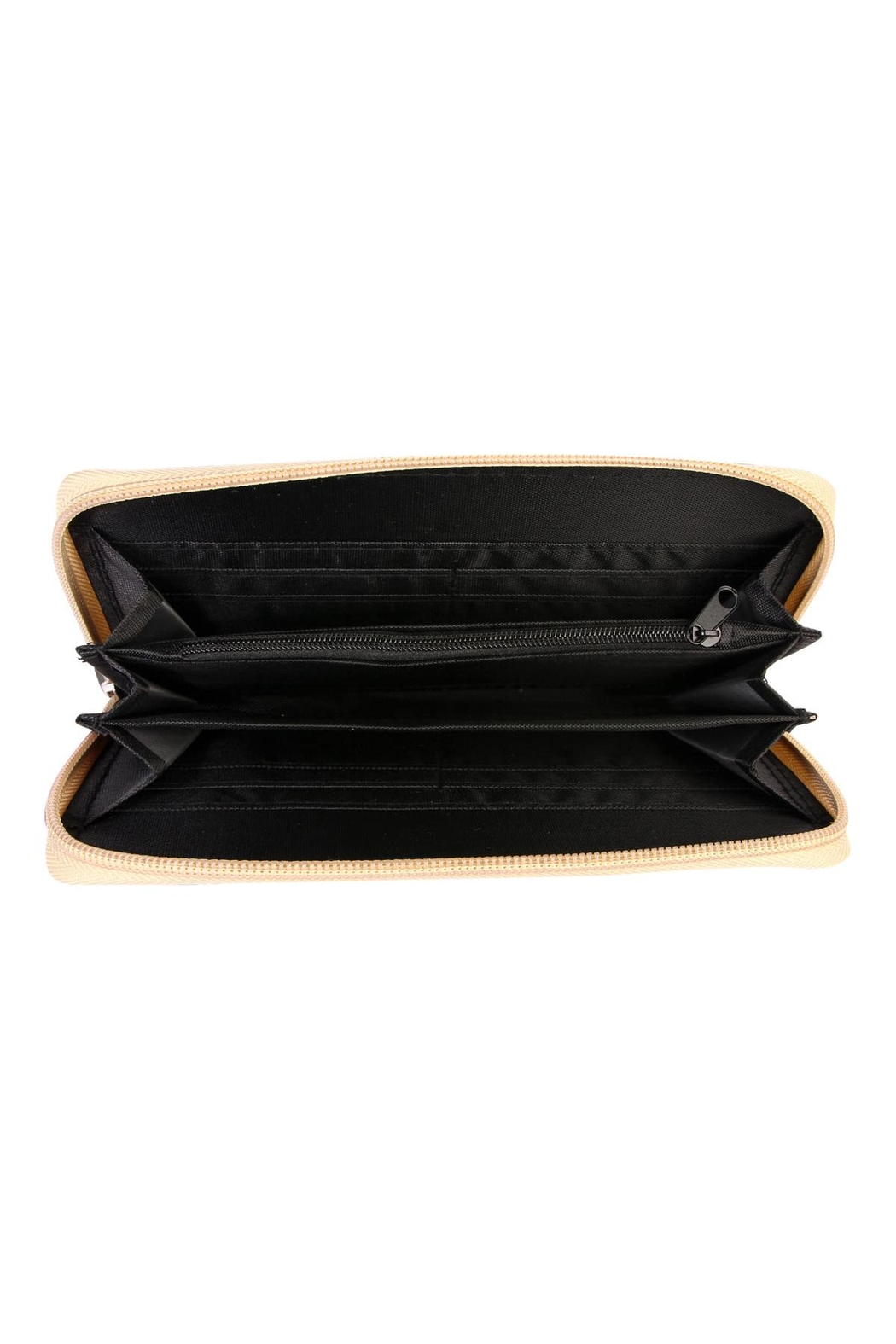 Riah Fashion Feather Print Zipper-Wallet - Front Full Image