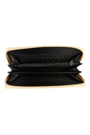 Riah Fashion Feather Print Zipper-Wallet - Front full body