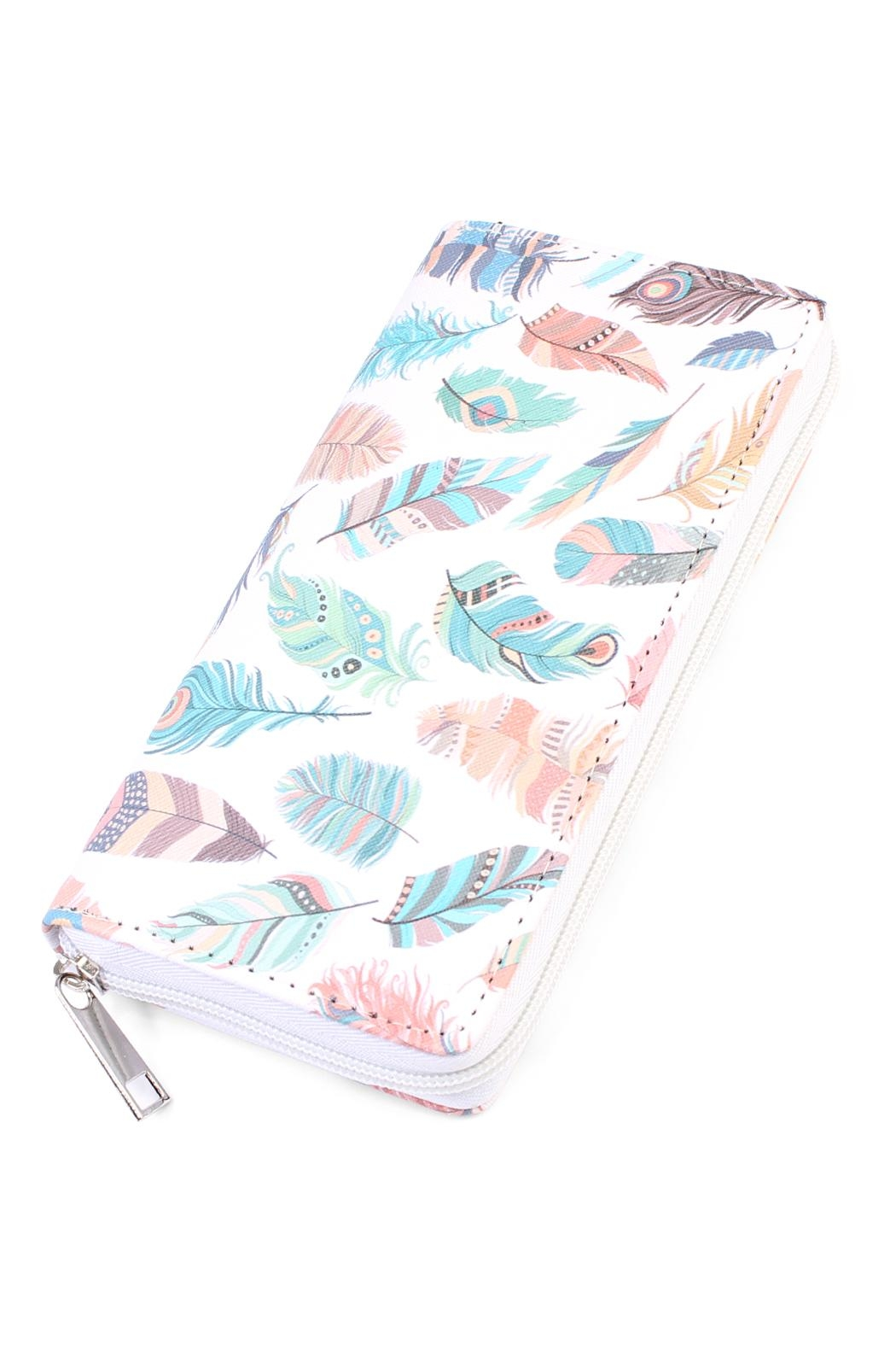 Riah Fashion Feather Print Zipper-Wallet - Front Cropped Image