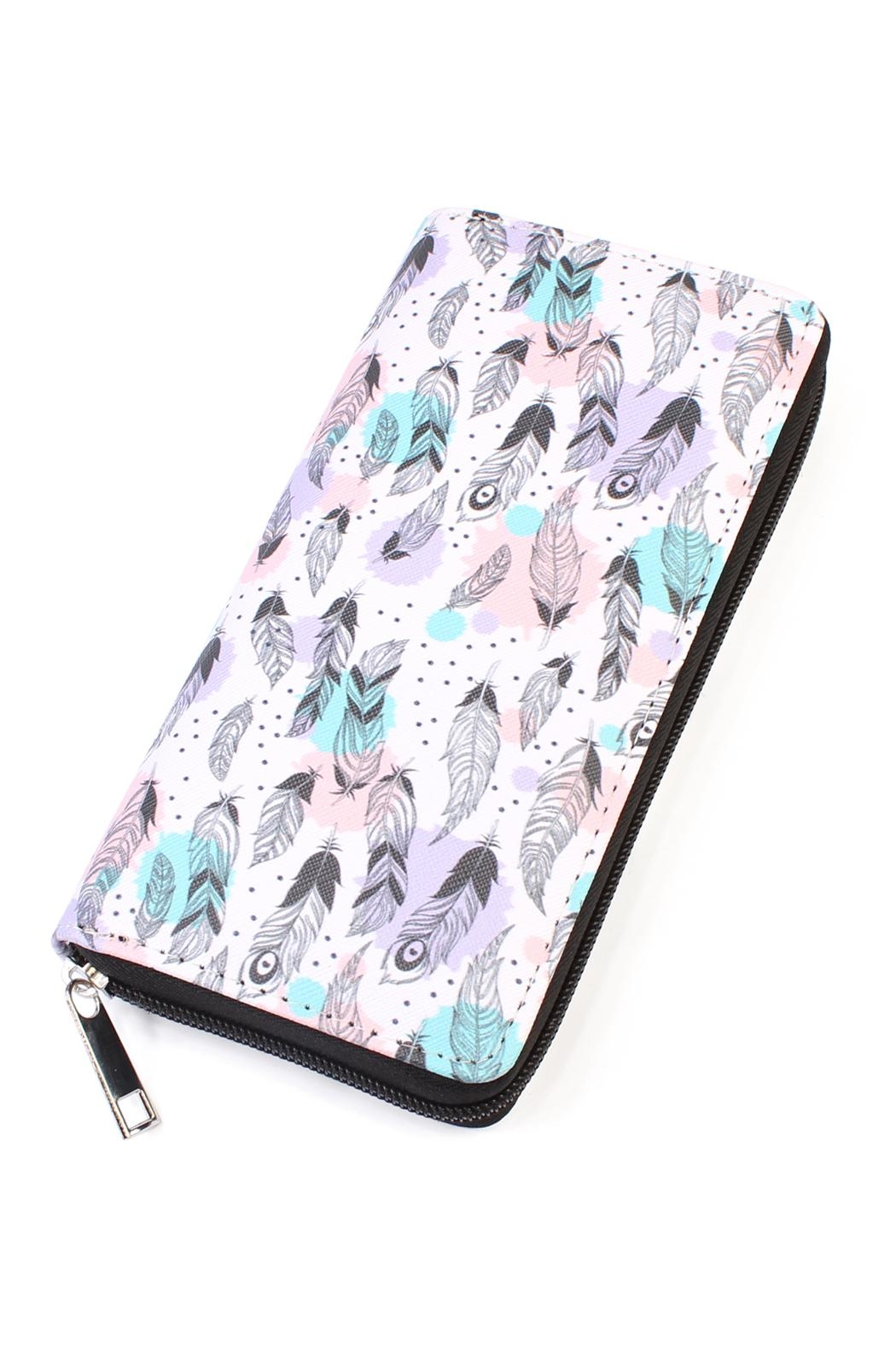 Riah Fashion Feather Print Zipper-Wallet - Main Image