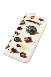 Riah Fashion Feather-Print Zipper Wallet - Product Mini Image