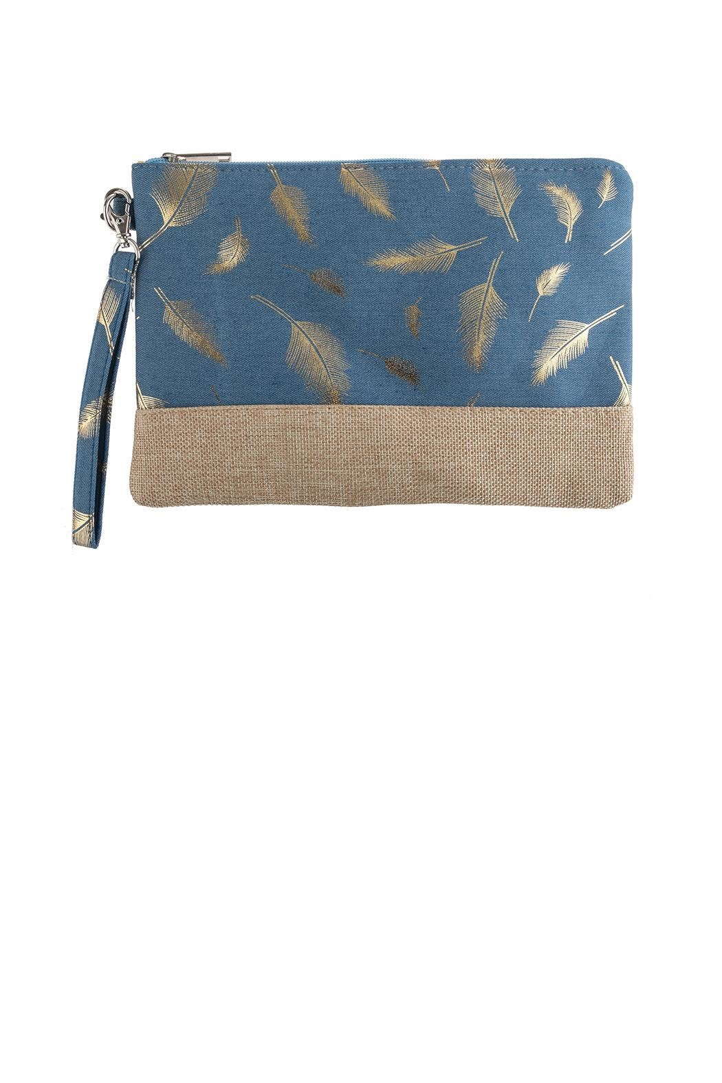 Riah Fashion Feather Printed Wristlet-Bag - Main Image