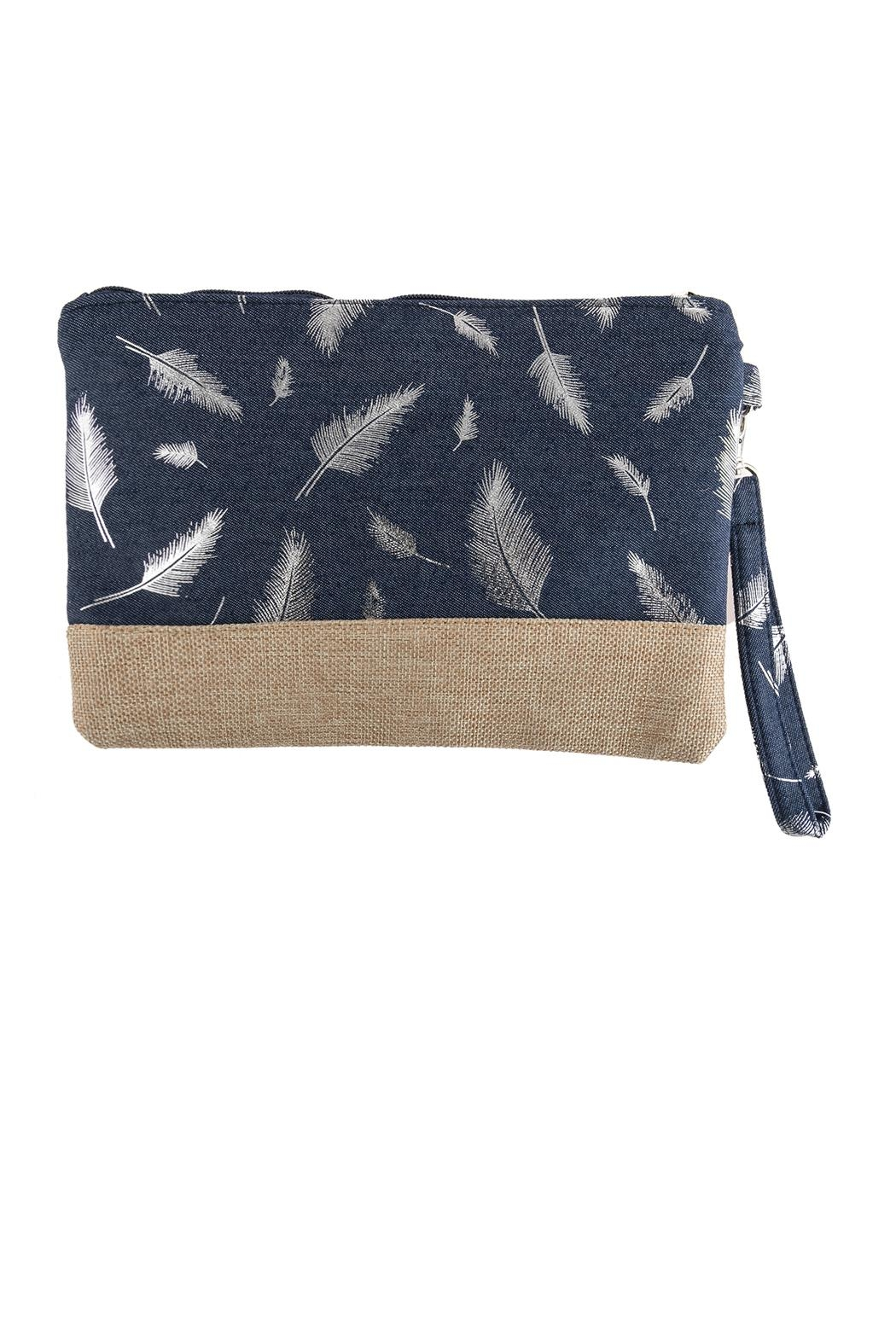 Riah Fashion Feather Printed Wristlet-Bag - Front Cropped Image