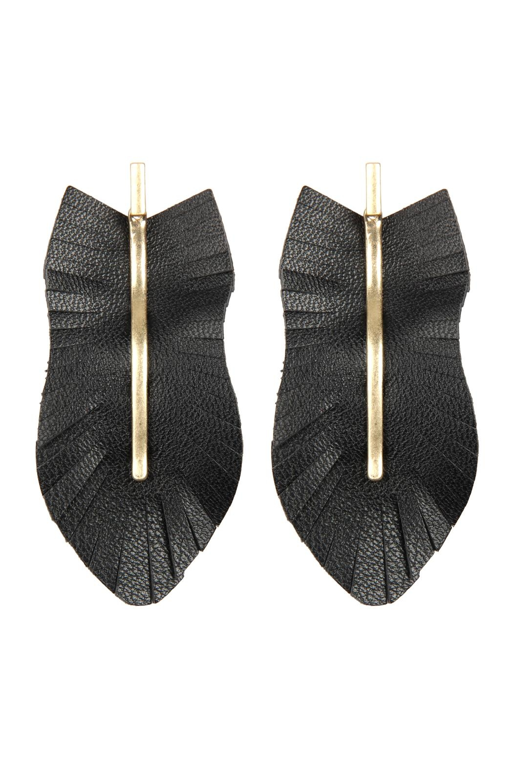 Riah Fashion Feather Shaped Fringe-Leather-Earrings - Main Image