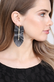 Riah Fashion Feather Shaped Fringe-Leather-Earrings - Front full body