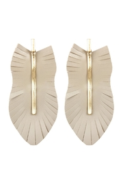 Riah Fashion Feather Shaped Fringe-Leather-Earrings - Front cropped