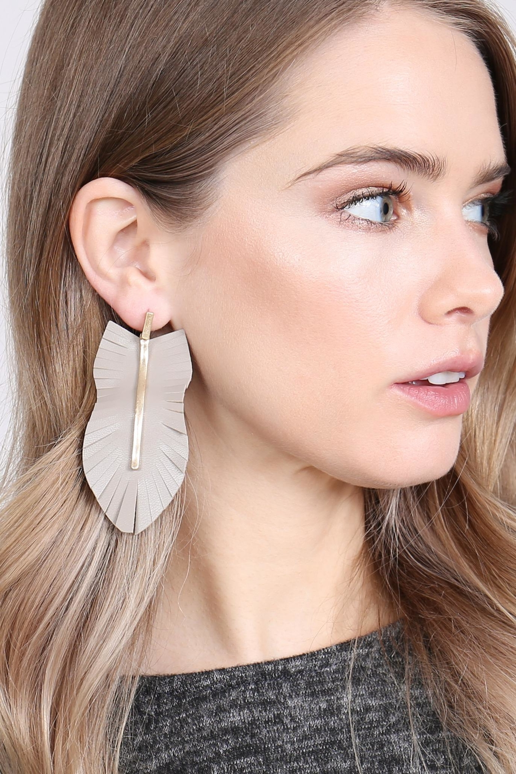 Riah Fashion Feather Shaped Fringe-Leather-Earrings - Front Full Image