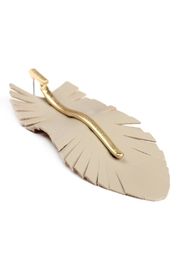 Riah Fashion Feather Shaped Fringe-Leather-Earrings - Side cropped
