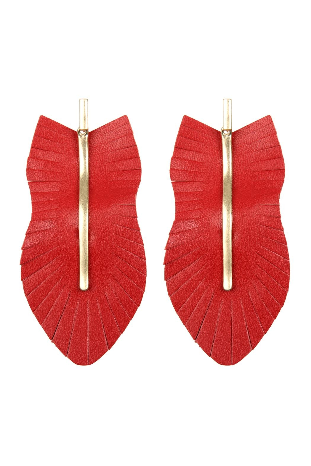 Riah Fashion Feather Shaped Fringe-Leather-Earrings - Front Cropped Image