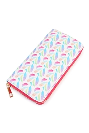 Riah Fashion Feather Zipper Wallet - Product Mini Image
