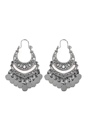 Riah Fashion Filigree Disc-Drop Earrings - Product Mini Image