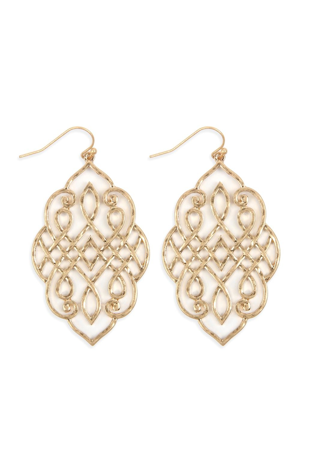 Riah Fashion Filigree Earrings - Front Cropped Image