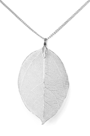 Riah Fashion Filigree Leaf Necklace - Front full body