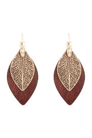 Riah Fashion Filigree Leaf-Wood-Earrings - Product Mini Image