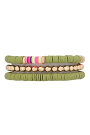 Riah Fashion Fimo-Metal-Multi Elastic Bracelet - Front cropped