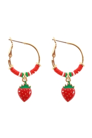 Riah Fashion Fimo Metal Strawberry Fruit Hoop Earrings - Product Mini Image