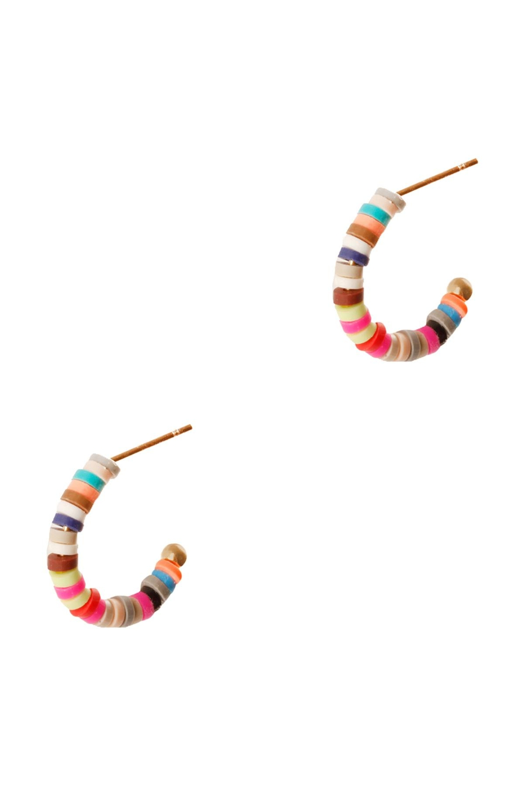 Riah Fashion Fimo Multicolor Hoor Round Earrings - Side Cropped Image