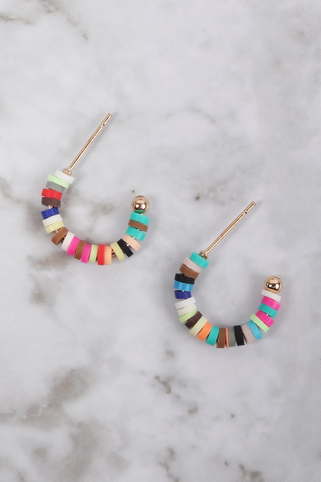 Riah Fashion Fimo Multicolor Hoor Round Earrings - Front Full Image