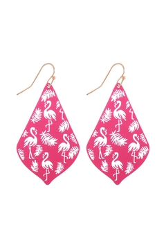 Shoptiques Product: Flamingo Filigree Kite Shape Fish Hook Earrings