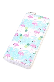 Riah Fashion Flamingo-Print Zipper Wallet - Product Mini Image