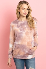 Riah Fashion Fleeced-French-Terry-Tie-Dye-Pullover-With-Kangaroo-Pockets - Product Mini Image