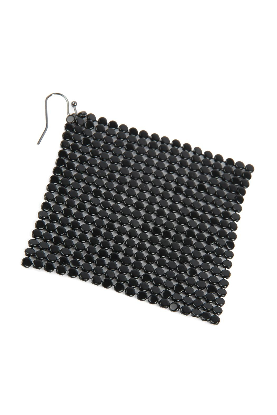 Riah Fashion Floppy-Cone-Square Shape-Drop-Earrings - Front Full Image