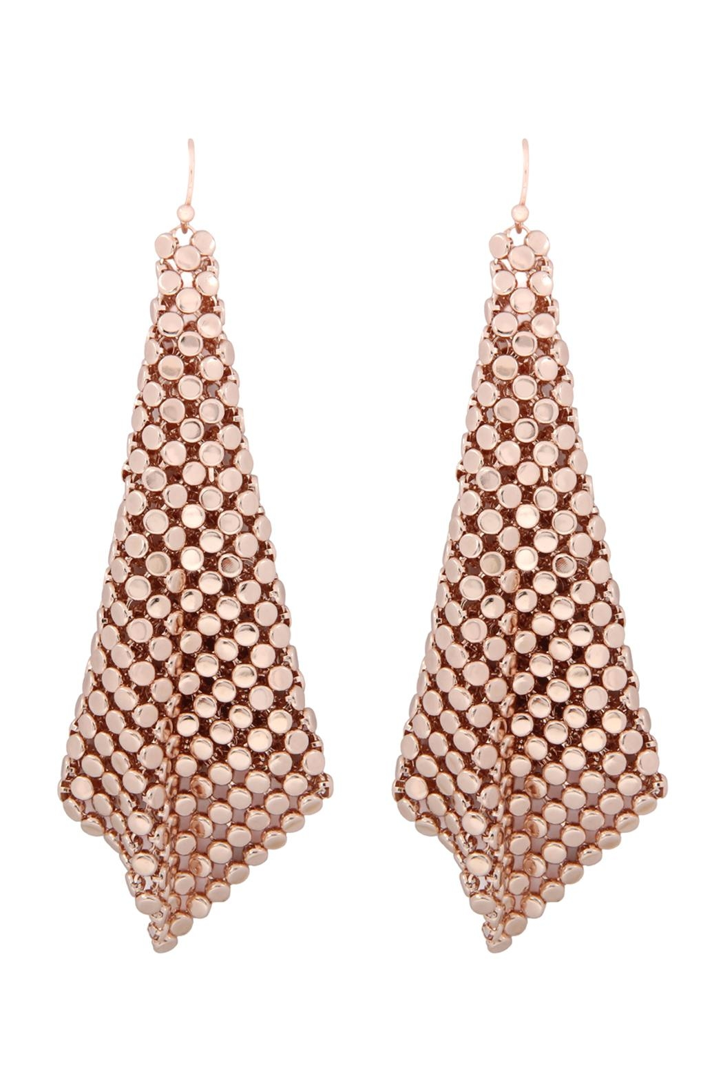 Riah Fashion Floppy-Cone-Square Shape-Drop-Earrings - Front Cropped Image