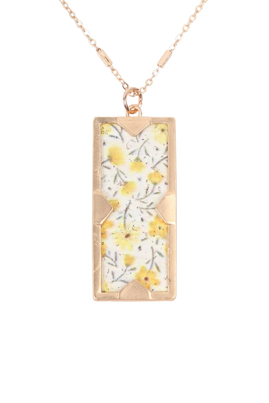 Riah Fashion Floral Charm Pendant Necklace - Front Cropped Image