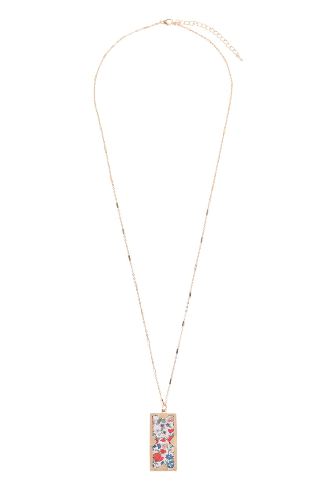 Riah Fashion Floral Charm Pendant Necklace - Side Cropped Image