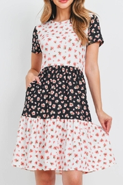 Riah Fashion Floral-Contrast-Tiered-Ruffle-Dress - Product Mini Image