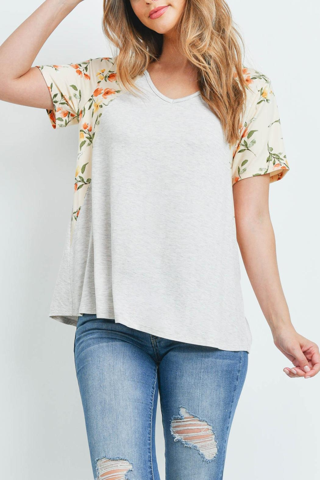 Riah Fashion Floral-Contrast-Two-Toned-V-Neck-Top - Main Image
