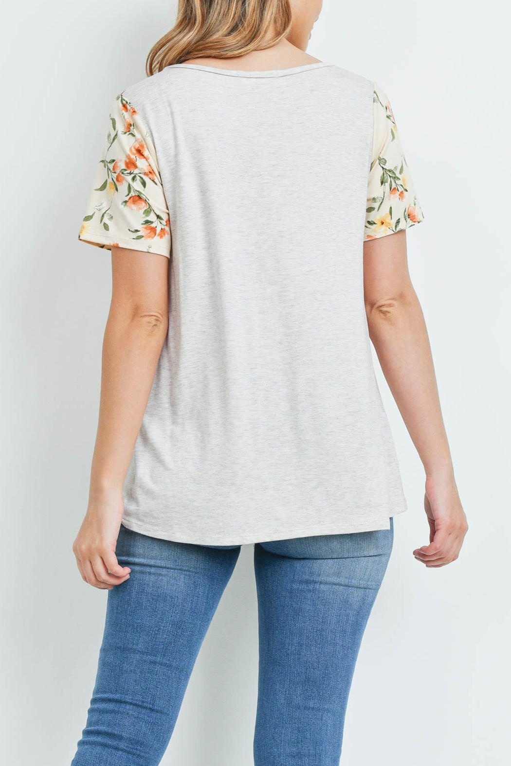 Riah Fashion Floral-Contrast-Two-Toned-V-Neck-Top - Front Full Image