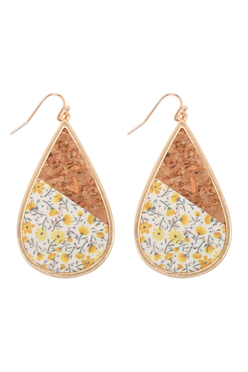 Riah Fashion Floral Cork Teardrop Earrings - Front Cropped Image