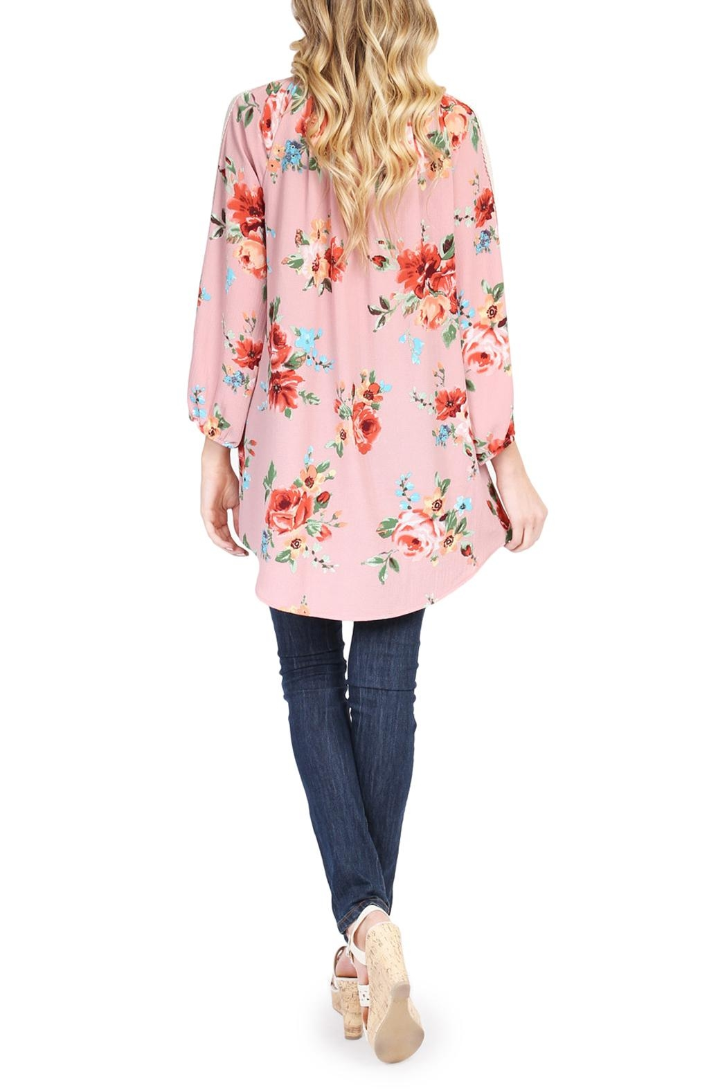 Riah Fashion Floral Tunic Top - Side Cropped Image