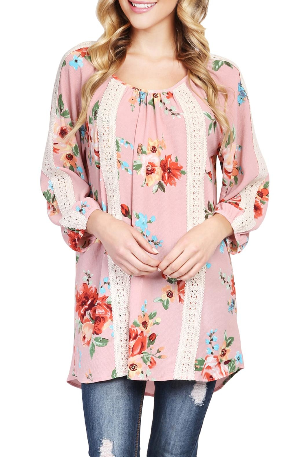 Riah Fashion Floral Tunic Top - Back Cropped Image