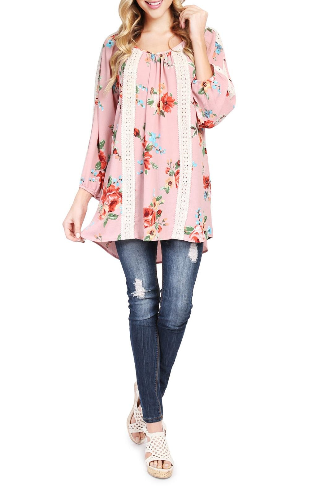 Riah Fashion Floral Tunic Top - Front Cropped Image