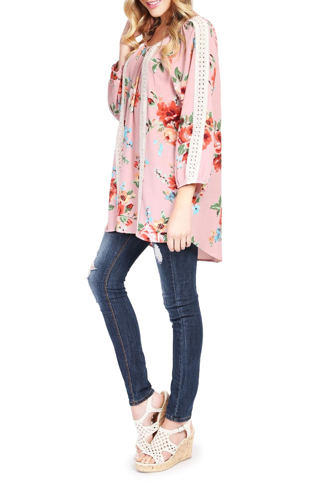 Riah Fashion Floral Tunic Top - Front Full Image