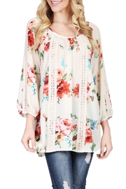 Riah Fashion Floral Tunic Top - Front full body