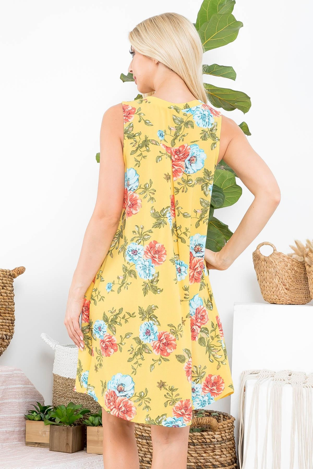 Riah Fashion Floral-Dress - Front Full Image