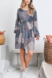 Riah Fashion Floral-Geometric-Tile-Puff-Sleeve-Dress - Front cropped
